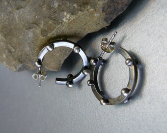 Edgy Rocker Dotted Sterling Silver Hoop Earrings -  Solid - Oxidized - Artisan - Satin Finish - Handmade - OOAK