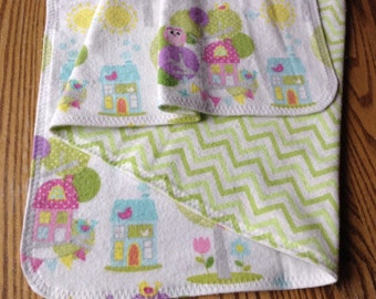 Large Square Flannel Swaddler Blanket , 35 inches.  Lovely Owls in Trees