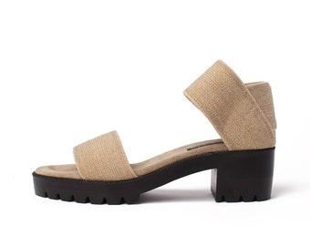 JRS Dual Strap Linen Sandals