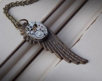 Brass Wing Necklace Watch Movement Clockworks Steampunk Jewelry Recycled Watch Unisex Necklace
