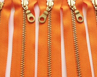 YKK Metal Zippers with Brass Teeth and Donut Style Pull- 4 inch- (5) pieces -Orange 006