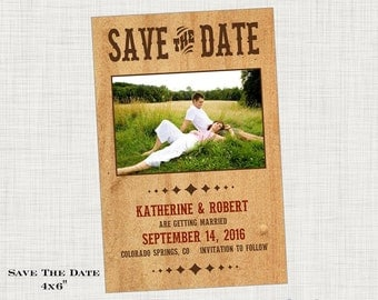 Rustic Save the Date - Photo Save the Date -  Country Save the Date, Wood Save the Date,  Wedding Save the Date