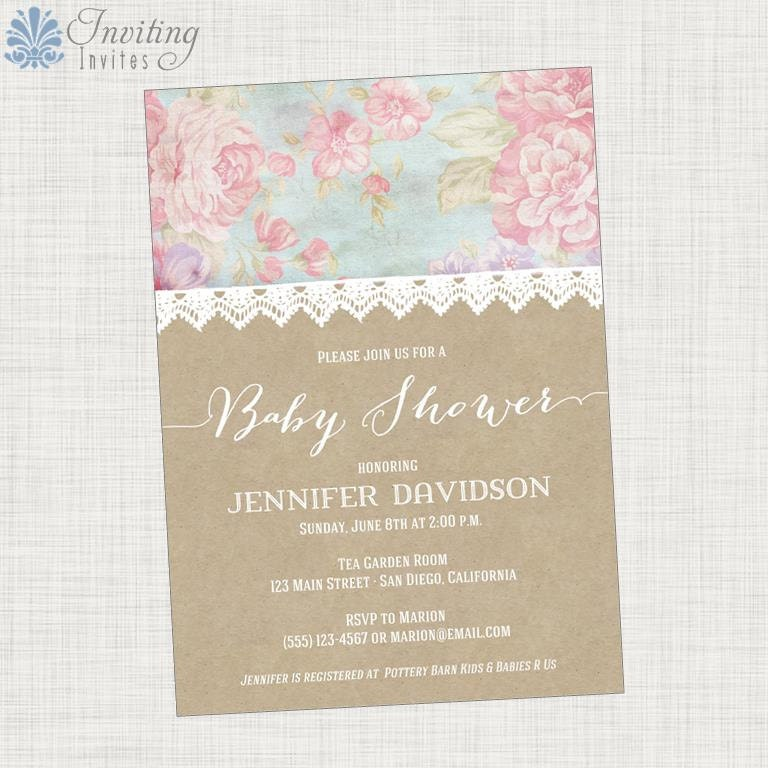 shabby chic baby shower invitation lace pink by invitinginvites