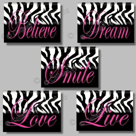 Pink ZEBRA Print Wall Art Girls Teen Room Decor Dorm Live ~ 235855_Zebra Print Dorm Room Ideas