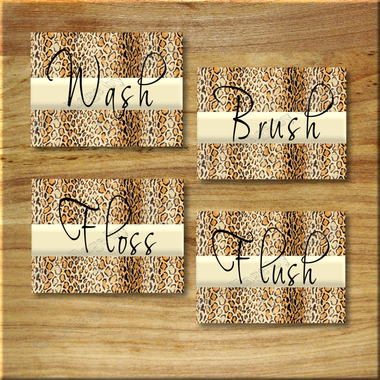 leopard bathroom cheetah print word art wall decor wash floss