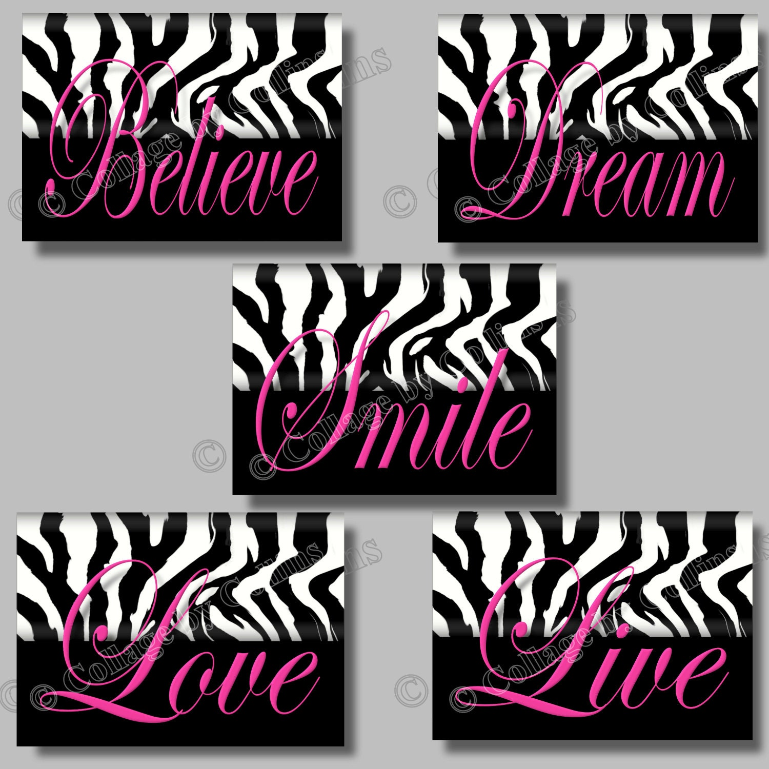 Pink zebra print wall art girls teen room decor dorm live for Room decor zebra print