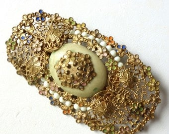 Antique vintage gold filigree brooch with faux seed pearls, enamel flowers
