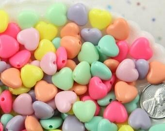 Pastel Heart Beads - 11mm Beautiful Bright Pastel Puffy Heart Acrylic or Resin Beads - 150 pcs set