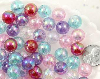 Pastel Beads - 12mm Iridescent Pastel AB Mix Translucent Acrylic or Resin Beads - 65 pc set
