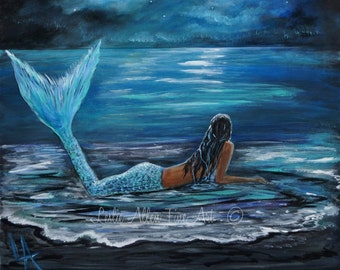 "Mermaid ART PRINT Mermaids Woman Ocean  Fantasy Art Decor  ""Mermaids Moonlit Beach"" Leslie Allen Fine Art"