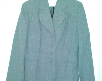 Amazing 1940's 1950's Light Grey Skirt Suit Wool or Wool Blend Small Medium