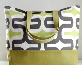 Embrace Grey and Lime XL Extra Large BIG Tote Bag / Beach Bag - Ready to Ship