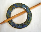 Blue Green Shawl Pin Scarf Pin Brooch in Handmade Ceramic with Wood Stick Pin