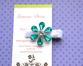 Turquoise and White Rhinestone Flower Clip