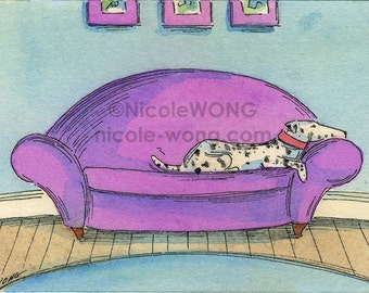 Original ACEO Painting -- Dalmation on the sofa