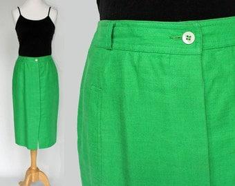 70's / 80's Green Linen Skirt / Straight Skirt /  Liz Claiborne / Small