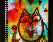 "Whimsical Owl Journal 5.5""x8.5"" Lined Paper Notebook, Diary, Stationery, Wholesale Notebooks, Stationery with Owls"