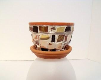 Mosaic Tiny  Flower Pot  Beige Earth Tones