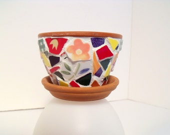 Mosaic Tiny  Flower Pot  Primary Colors
