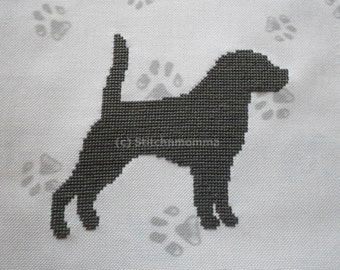 14014 Beagle Dog Silhouette - Original Design Cross Stitch PDF Pattern - DIGITAL DOWNLOAD