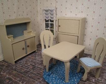 Vintage German Dollhouse Miniatures - Five Piece Kitchen - Repainted