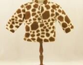 "REDUCED 18"" Doll Clothes Zip Pullover Brown and Cream Giraffe Print Polar Fleece Safari Jungle"