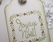 Vintage Style Joyeux Noel Gift Tags with Silver Bells