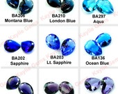 Glass Jewel 18x25mm Tear Drop Pointed Back Unfoiled  - Blue, Purple, Sapphire, Aqua, Amethyst, Tanzanite, London, Montana - Pick Your Color