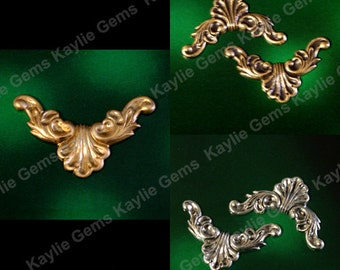 Raw Brass Victorian Stamping Ornate Finding - SF787NR - 2pcs