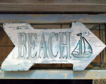 Beach Arrow sign, Beach House, Cottage sign, Beach House sign, Lake House sign, Personalized & Custom sign, Distressed sign.