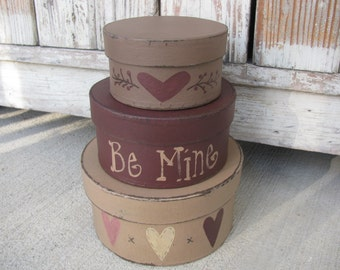 Primitive Hand Painted Valentine Hearts Round Set of 3 Stacking Boxes GCC05656