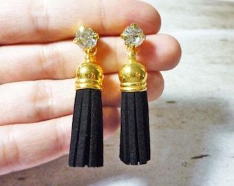 Suede Tassel Drop Stud Earrings - Black