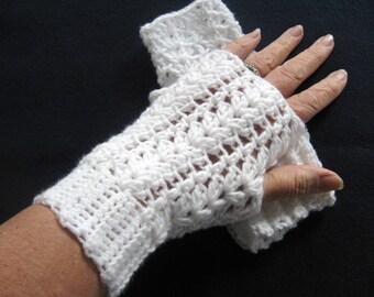 Crochet White Lacy Fingerless Gloves - White Crocheted Fingerless Mitts - White Crochet Arm Warmers