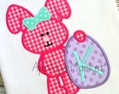 Machine Embroidery Design Applique Easter Egg Bunny Girl INSTANT DOWNLOAD