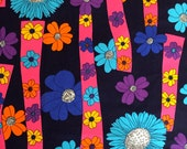 60s Flower Power with a Peter Max Style Vibe// Psychedelic Floral Design// Cotton Yardage// Upholstery Weight// New Old Stock// By the Yard