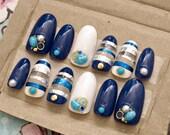 Gel nails, navy, summer nail art, marine, turquoise, pearl, stripes, beach nails, boho, acrylic nails, press on nails, false nails, glittery
