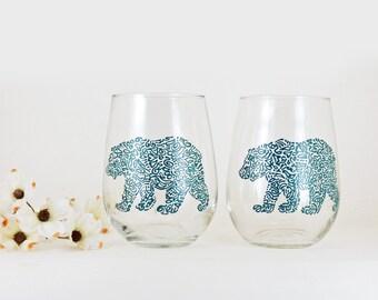 Bear wine glasses - Hand painted stemless white wine glasses - Set of 2