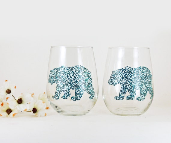 Bear wine glasses hand painted stemless white wine glasses for Painted stemless wine glasses