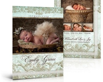 Girl Birth Announcement Templates - TIFFANY DAMASK -  5x7 Press Printed Flat Card Photoshop Templates for Photographers & Scrap Bookers.