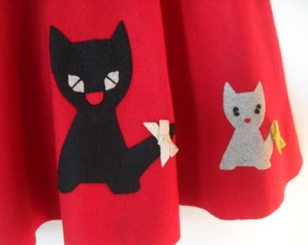 Vintage Red Felt Kitty Cat Circle Skirt 1950's Small Western Rockabilly So Cute!