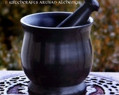 HEXE™ Witch's Black Cauldron Style Soapstone Mortar & Pestle - Herb Spice Incense Grinding Preparation Tool, Kitchen Witchery, Witchcraft