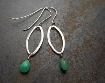 Chrysoprase Marquis Dangle Earrings