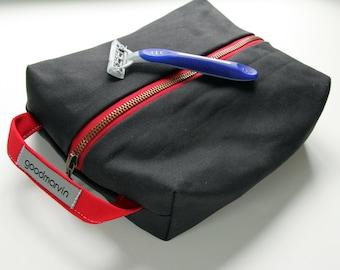 Mens Shaving Kit, Dopp Kit, Travel Kit, Vegan Shaving Kit, Canvas Travel Case, Black Shaving Bag, Cosmetic Bag, Sundries Bag, Groomsmen Gift