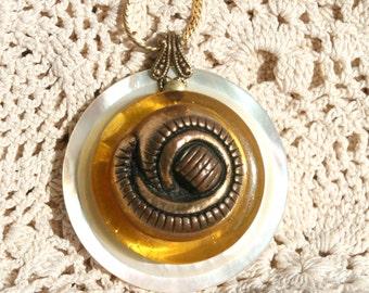 Vintage Apple Juice Bakelite Button and vintage Gold Composite Button Vintage Mother of Pearl Pendant