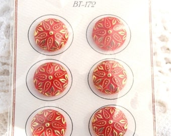 Vintage Red and Gold Luster Glass Buttons self Shank - Set of 6