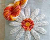 DIY Crewel Embroidery Kit  White Daisy on Silver Grey Needle Book  // Nature Floral Plant Life // Prairie Garden