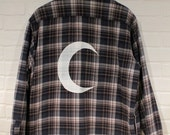 Crescent Moon Screenprinted Flannel Shirt Size Men's M - blue/gray FLEECE lined plaid coat