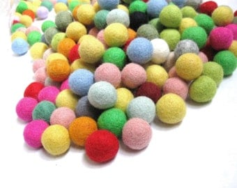 Felt Balls Color Mix - 50 Pure Wool Beads 20mm - Multicolor Shades -   (W250BB)