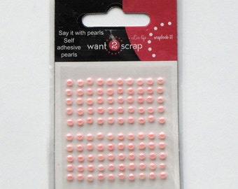 Pink Pearls - Baby Bling - flat back pearls - scrapbook pearls - stick on pearls - acrylic pearls - pearls bling - pearl embellishments -