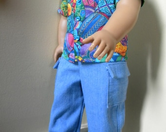 Easter shirt and cargo pants for 18 inch boy doll